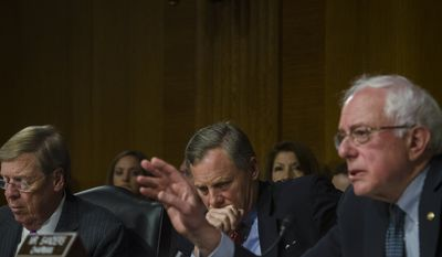 "Senators Johnny Isakson (R-GA, left) and Richard Burr (R-NC, center) listen while Senator Bernard Sanders (I-VT, right) asks a question of Department of Veterans Affairs Secretary Eric Shinseki and Under Secretary for Health, Department of Veterans Affairs, Robert A. Petzel, during their testimony during a Senate Veterans Affairs Committee hearing titled ""The State of VA Health Care"" in the Dirksen Senate Office Building in Washington, DC., Tuesday, May 13, 20124. (Photo Rod Lamkey Jr.)"