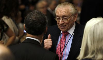 Developer Larry Silverstein attends the dedication ceremony in Foundation Hall, of the National September 11 Memorial Museum, in New York, Thursday, May 15, 2014. (AP Photo/Richard Drew, Pool)