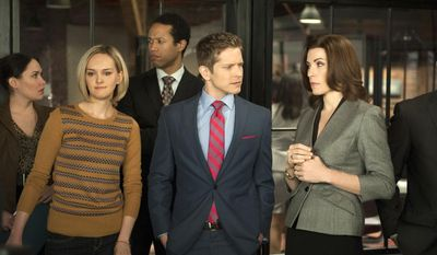 """This image released by CBS shows, front row from left,  Jess Weixler, Matt Czuchry and Julianna Margulies in a scene from """"The Good Wife."""" Airing its season finale Sunday at 9 p.m. EDT, """"The Good Wife"""" has replenished the stripped-bare courtroom genre with complex storylines that employ human relationships as much as legal brinksmanship. (AP Photo/CBS, Jojo Whilden)"""
