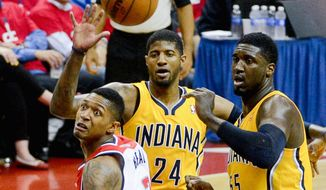 Bradley Beal can't get control of the ball as it sails out of bounds Thursday during the first half of the Wizards' season-ending 93-80 loss  to the Pacers. (Andrew Harnik/The Washington Times)