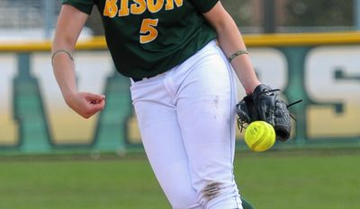 This May 10, 2014 photo provided by North Dakota State University shows North Dakota State's Krista Menke pitching against IUPUI in a Summit League tournament softball game in Fargo, N.D. Menke helped NDSU into the NCAA Division I tournament for the fifth time in six years. (AP Photo/Courtesy of North Dakota State University)