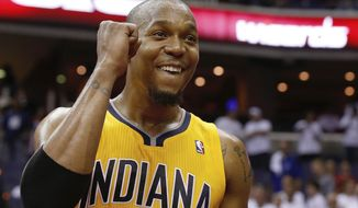 Indiana Pacers forward David West reacts to the team's 93-80 victory over the Washington Wizards in Game 6 of an Eastern Conference semifinal NBA basketball playoff series in Washington, Thursday, May 15, 2014. The Pacers advanced to the Eastern Conference finals. (AP Photo/Alex Brandon)