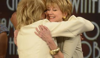"""This image released by ABC shows Barbara Walters, left, embracing fellow female broadcaster Jane Pauley during a taping of Walters' final co-host appearance on """"The View,"""" Thursday, May 15, 2014 in New York. (AP Photo/ABC, Ida Mae Astute)"""
