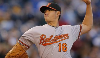 Baltimore Orioles starting pitcher Wei-Yin Chen delivers to a Kansas City Royals batter during the third inning of a baseball game at Kauffman Stadium in Kansas City, Mo., Thursday, May 15, 2014. (AP Photo/Orlin Wagner)