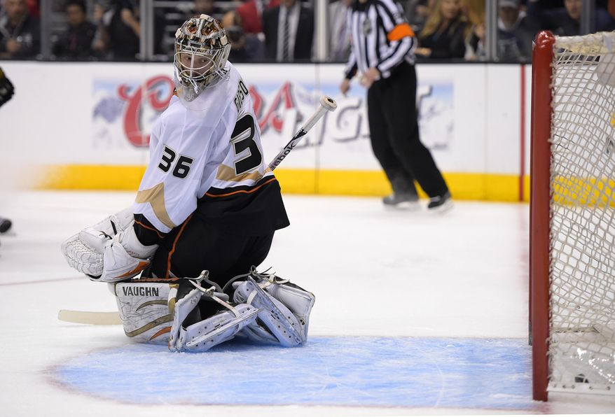 Anaheim Ducks goalie John Gibson is scored on by Los Angeles Kings center Trevor Lewis during the second period in Game 6 of an NHL hockey second-round Stanley Cup playoff series, Wednesday, May 14, 2014, in Los Angeles. (AP Photo)