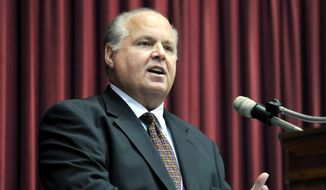 This May 14, 2012, file photo shows conservative commentator Rush Limbaugh speaking during a ceremony inducting him into the Hall of Famous Missourians in the state Capitol in Jefferson City,  Mo. (AP Photo/Julie Smith, File) **FILE**