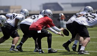 Oakland Raiders quarterback Derek Carr fumbles his a snap during the team's NFL football rookie camp on Friday, May 16, 2014, in Alameda, Calif. (AP Photo/Marcio Jose Sanchez)
