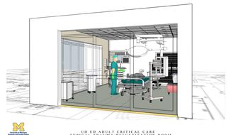 In this undated artist rendering provided by the University of Michigan Health System, a typical adult critical care trauma, resuscitation room is shown. A $7 million project at the University of Michigan Health System will create a new place for the most critically ill and injured adults it serves to get initial emergency care. The Emergency Critical Care Center will be set up within the health system's existing adult Emergency Department at University Hospital in Ann Arbor. The health system says the center, known as EC3, could help shorten, or eliminate, in some cases, the stay of patients in intensive care units. (AP Photo/University of Michigan Health System)