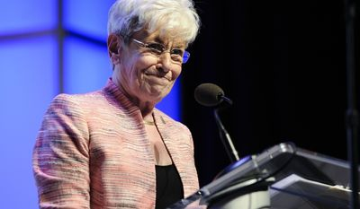 Lt. Gov. Nancy Wyman accepts the nomination for Democratic candidate for Lt. Gov at the Connecticut Democratic Convention, Friday, May 16, 2014, in Hartford, Conn. (AP Photo/Jessica Hill)