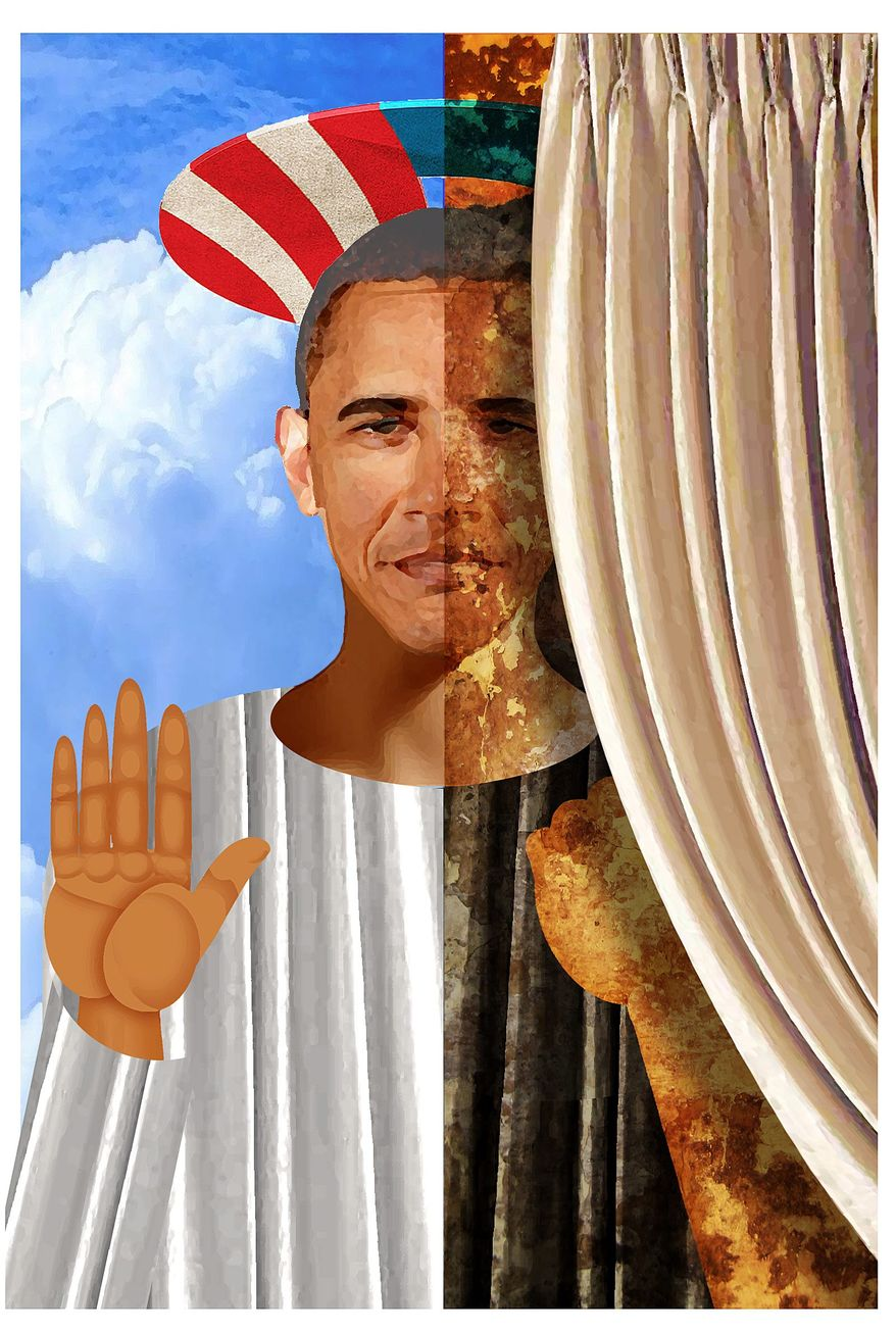 Illustration on hopes and realities of Obamam's presidency by Alexander Hunter/The Washington Times