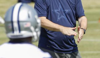 Dallas Cowboys new passing coordinator Scott Linehan instructs players during NFL football rookie camp at the Cowboys' headquarters Friday, May 16, 2014, in Irving, Texas.  (AP Photo/Tim Sharp)