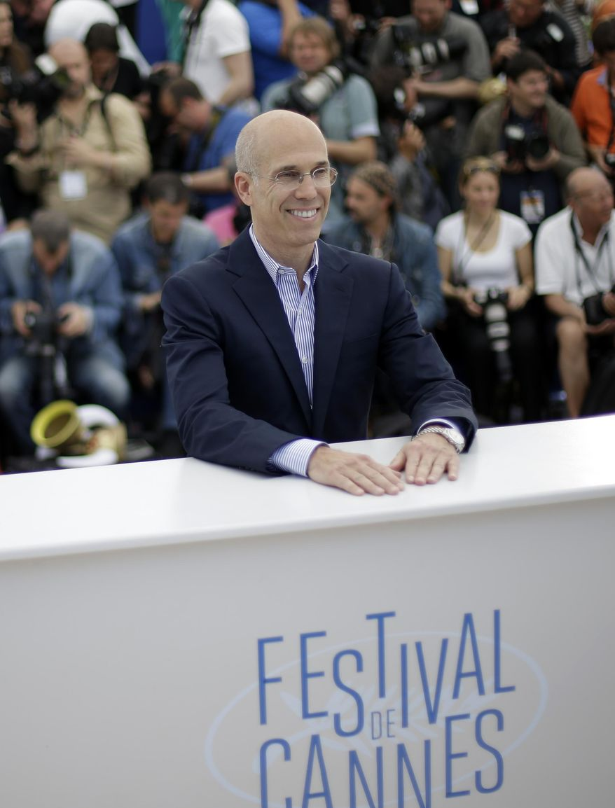 Head of Dreamworks Jeffrey Katzenberg poses for photographers during a photo call for How to Train Your Dragon 2 at the 67th international film festival, Cannes, southern France, Friday, May 16, 2014. (AP Photo/Thibault Camus)