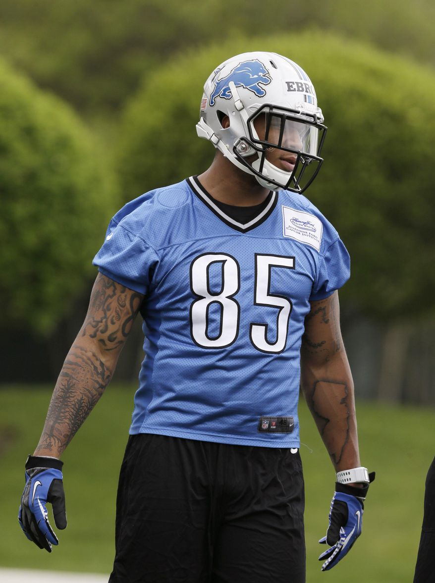 Detroit Lions tight end Eric Ebron is seen during drills at the Lions rookie camp in Allen Park, Mich., Friday, May 16, 2014. It was a bit of a surprise when the Lions took a tight end in the first round of the draft, but Ebron could have a chance to excel in Detroit's passing game. (AP Photo/Carlos Osorio)