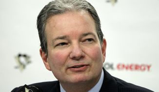 FILE - In this April 12, 2012, file photo, Pittsburgh Penguins general manager Ray Shero talks with reporters as the NHL hockey team cleared out their locker room at the Consol Energy Center in Pittsburgh. The Penguins have fired Shero on Friday, May 16, 2014, while the status of coach Dan Bylsma will be evaluated. (AP Photo/Gene J. Puskar, File)