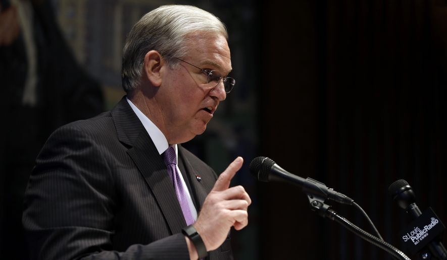 Missouri Gov. Jay Nixon speaks during a news conference in his office following the end of the legislative session Friday, May 16, 2014, in Jefferson City, Mo. (AP Photo/Jeff Roberson)