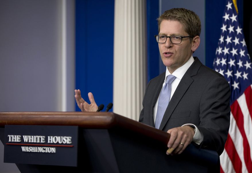 White House press secretary Jay Carney speaks during the daily news briefing at the White House in Washington, Friday, May 16, 2014. Carney discussed the Ukraine, immigration reform, the election of India's next prime minister Narendra Modi, and other topics. (AP Photo/Carolyn Kaster)