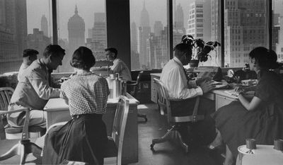 """This photo circa 1959 released by the National Archives, Records of the U.S. Information Agency, shows Interior view of Lever Brothers office building in New York. The photo is part of """"The Way We Worked"""" , part of the Smithsonian's Museum on Main Street program ? and opens Saturday, May 17, 2014 in Angola,  Louisiana, and 270 miles away in Tunica, Mississippi. Identical exhibits also are being shown in Rhode Island, Michigan and California. (AP Photo/National Archives, Records of the U.S. Information Agency)"""
