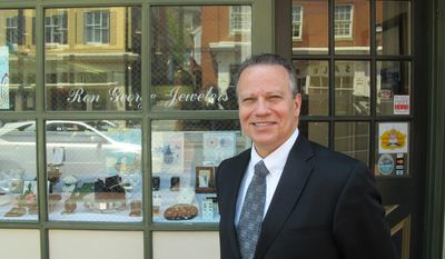 Delegate Ron George, who is running in the Maryland Republican primary for governor, stands in front of his jewelry store in Annapolis on Thursday, May 8, 2014. George is focusing his campaign largely on economic issues and cutting taxes. (AP Photo/Brian Witte)