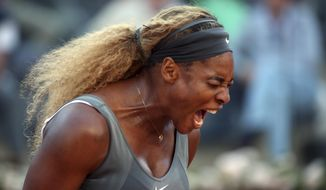 Serena Williams shouts after losing a point during her semifinal match against Ana Ivanovic at the Italian open tennis tournament in Rome, Saturday, May 17, 2014. Williams overcame a second-set lapse to beat 11th-seeded Ana Ivanovic 6-1, 3-6, 6-1 and gain a measure of revenge for a fourth-round loss to the Serb at this year's Australian Open. (AP Photo/Gregorio Borgia)