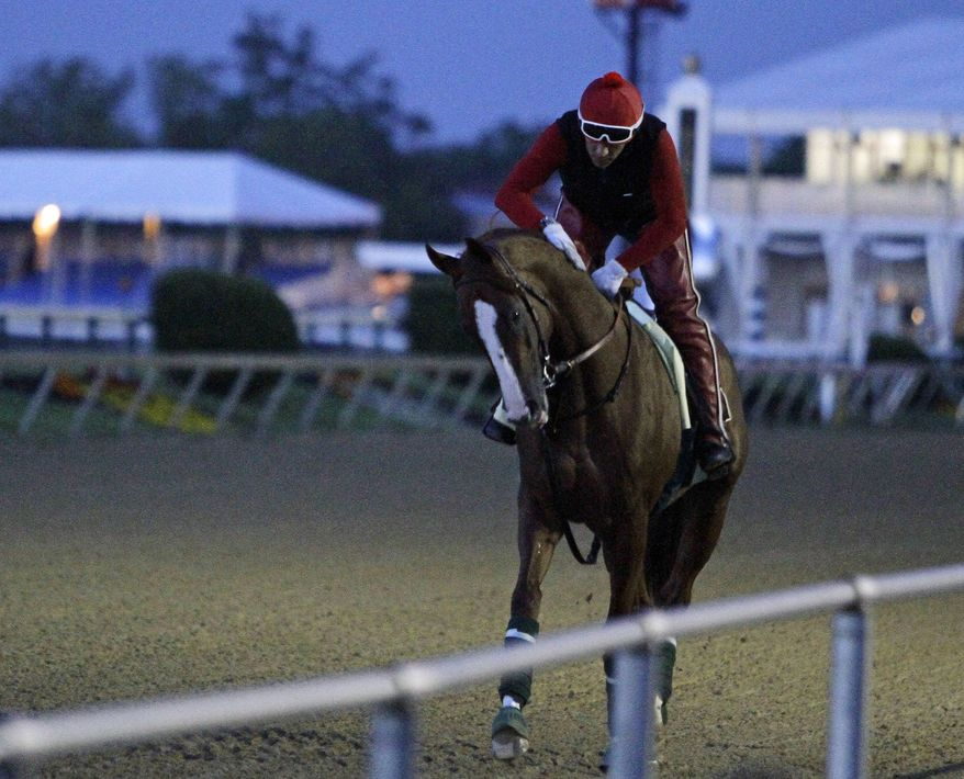 Preakness Stakes favorite California Chrome gets a pat on the neck from exercise rider Willie Delgado after a morning gallop at Pimlico Race Course in Baltimore, Saturday, May 17, 2014.  (AP Photo/Garry Jones)