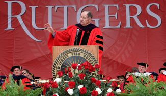 Former New Jersey Governor Thomas Kean delivers the Rutgers University commencement address, Sunday, May 18, 2014, in Piscataway, N.J. (AP Photo/Home News Tribune, Jason Towlen) NEWARK STAR LEDGER OUT, NO SALES