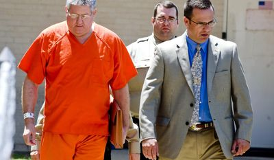 "FILE - In a Tuesday May 6, 2014 file photo, Bernie Tiede is escorted into the Panola County Courthouse, in Carthage, Texas. Three of the jurors who gave Tiede a life sentence for killing 81-year-old Marjorie Nugent say they're not happy he's being released early. The jurors spoke to the Longview News-Journal days after Tiede was let out of prison for the murder of Nugent. Tiede was released on bond on May 6, 2014 after the district attorney who prosecuted him agreed to let him out of a life sentence.  The killing and the reaction of the town of Carthage were profiled in the 2011 movie ""Bernie,"" which drew new attention to the case. (AP Photo/The News-Journal, Michael Cavazos, File)"