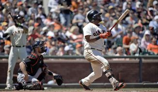 San Francisco Giants' Pablo Sandoval watches the flight of his solo home run against the Miami Marlins during the fifth inning of a baseball game on Sunday, May 18, 2014, in San Francisco. (AP Photo/Marcio Jose Sanchez)
