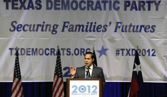 FILE - San Antonio Mayor Julian Castro gives the keynote address at the Texas Democratic Convention in this June 8, 2012 file photo, in Houston. President Barack Obama's expected nomination of Castro as secretary of Housing and Urban Development could test the 39-year-old's ability to navigate Washington ahead of 2016 elections, Texas Democrats say. (AP Photo/Pat Sullivan, File)