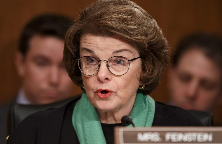 """** FILE ** Sen. Dianne Feinstein, California Democrat, has characterized the new House select committee tasked with investigating the Sept. 11, 2012, attack on the U.S. diplomatic post in Benghazi, Libya, as """"a hunting mission for a lynch mob."""" Democrats have yet to decide if they will appoint any members to the panel. (Associated Press)"""