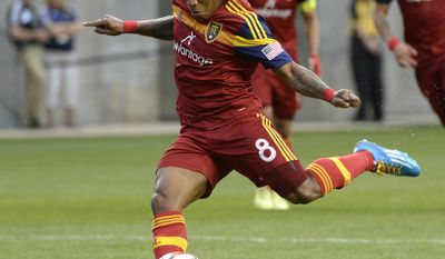 Real Salt Lakes forward Jou Plata (8) kicks for the team's first goal against Colorado Rapids during their MLS soccer game, Saturday, May 17, 2014, in Sandy, Utah. (AP Photo/The Salt Lake Tribune, Rick Egan)  DESERET NEWS OUT; LOCAL TV OUT; MAGS OUT.