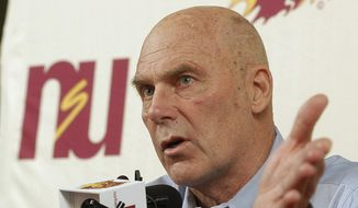 FILE - In this Feb. 27, 2010 file photo, Northern State coach Don Meyer addresses the media after an NCAA college basketball game in Aberdeen, S.D., where he announced he would be retiring. Meyer, one of the winningest coaches in college basketball who came back from a near-fatal car accident and liver cancer before closing out his career, has died in South Dakota. He was 69. (AP Photo/Doug Dreyer, File)