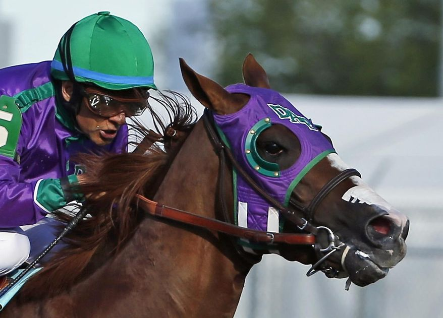 FILE - In this May 3, 2014, file photo, jockey Victor Espinoza rides California Chrome to win the 140th running of the Kentucky Derby horse race at Churchill Downs in Louisville, Ky.Chrome might abandon his Triple Crown bid if New York officials do not allow the colt to wear a nasal strip in the Belmont Stakes. Trainer Art Sherman made no threats about the Kentucky Derby and Preakness winner passing on a chance to become horse racing's 12th Triple Crown winner, but he suggested it was a possibility. (AP Photo/Matt Slocum, File)
