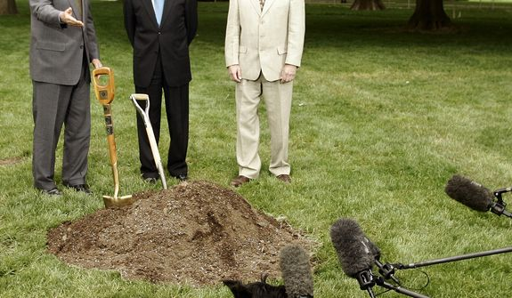 First lady Laura Bush's dog 'Miss Beazley' sniffs the microphones during a Chestnut tree planting ceremony for Arbor Day on the North Lawn of the White House in Washington Friday, April 29, 2005. With him are President Bush, Agriculture Secretary Mike Johanns and Marshal Case, President and CEO, American Chestnut Foundation, right. (AP Photo/Gerald Herbert)