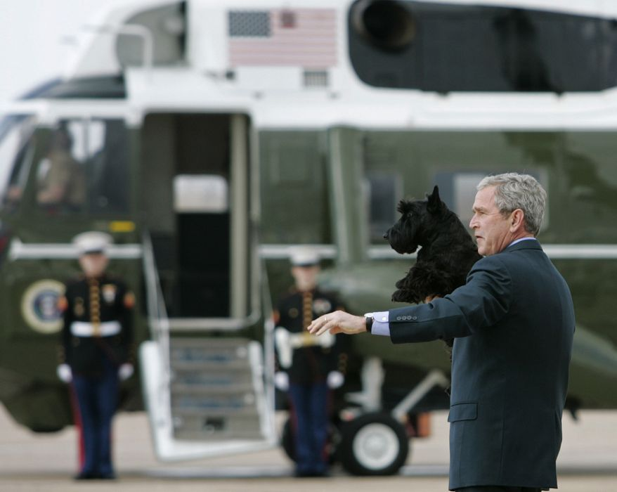 President Bush holds his dog, Barney, as he walks toward Marine One, Friday, Feb. 29, 2008, after arriving in Waco, Texas. (AP Photo/Haraz N. Ghanbari)