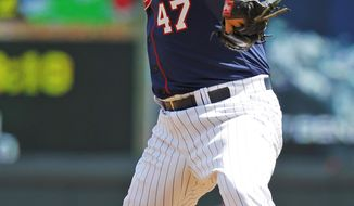Minnesota Twins starting pitcher Ricky Nolasco (47) delivers to the Seattle Mariners during the third inning of a baseball game in Minneapolis, Sunday, May 18, 2014. (AP Photo/Ann Heisenfelt)