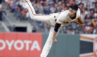 San Francisco Giants starting pitcher Tim Lincecum throws to the Miami Marlins during the fourth inning of a baseball game on Saturday, May 17, 2014, in San Francisco. (AP Photo/Marcio Jose Sanchez)