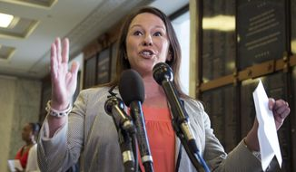 In this May 21, 2013, file photo, Rep. Martha Roby, R-Ala., speaks to the reporters on Capitol Hill in Washington, Tuesday, May 21, 2013. (AP Photo/Manuel Balce Ceneta, File)