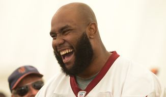 Washington Redskins Draft Pick Morgan Moses (76) talks with reporters after a minicamp workout at Redskins Park in Ashburn on Saturday, May 17. Khalid Naji-Allah/ Special to The Washington Times