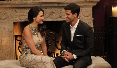 """This image released by ABC shows Andi Dorfman, left, and Eric Hill on the premiere episode of """"The Bachelorette,"""" premiering Monday, May 19, 2014 on ABC. (AP Photo/ABC, Rick Rowell)"""