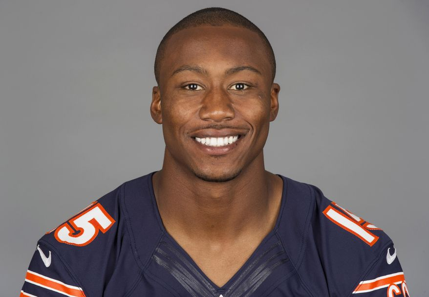 """FILE - This is a 2013 file photo showing Brandon Marshall of the Chicago Bears NFL football team. The Bears have agreed to terms with Pro Bowl wide receiver Brandon Marshall on a three-year contract extension. It is worth a reported $30 million, and Marshall's foundation tweeted Monday, May 19, 2014, that he was donating $1 million to the """"mental health community.""""(AP Photo/File)"""
