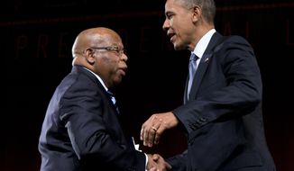FILE- This April 10, 2014 file photo shows President Barack Obama greeted by Rep. John Lewis, D-Ga., as he arrives to speak at the LBJ Presidential Library in Austin, Texas. A civil rights icon who is now an influential member of the House became the latest prominent Democrat on Monday to oppose one of President Barack Obama's picks to become a federal judge. A strongly worded three-paragraph statement by Lewis dealt yet another embarrassing blow to Obama and his selection of Michael Boggs to become a federal district judge in Lewis' home state of Georgia. (AP Photo/Carolyn Kaster, File)