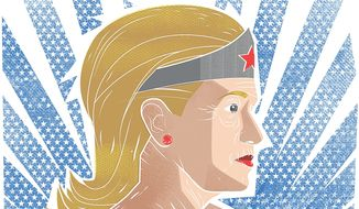 Illustration on Hillary Clinton's age by Linas Garsys/The Washington Times