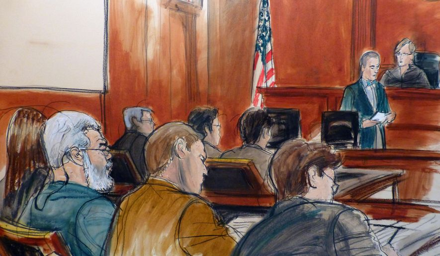 In this courtroom drawing, Egyptian Islamic preacher Mustafa Kamel Mustafa, left, sits in the courtroom of Judge Katherine Forrest, upper right, as Courtroom Deputy Joseph Pecorino reads the jury verdict sheet finding Mustafa guilty in his terrorism trial in New York Monday, May 19, 2014. Referred by prosecutors and defense lawyers alike by his alias, Abu Hamza al-Masri, Mustafa sits next to his defense lawyer Joshua Dratel,  center back, who sits next to defense lawyer Jeremy Schneider, far right. In front of them is the prosecution team. (AP Photo/Elizabeth Williams)