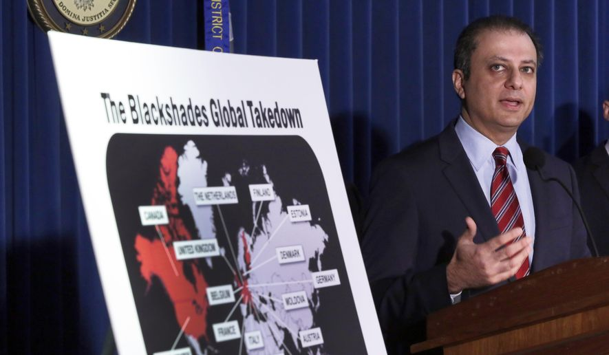 ** FILE ** Preet Bharara, U.S. Attorney for the Southern District of New York, discusses arrests in the malware BlackShades Remote Access Too, during a news conference in New York, Monday, May 19, 2014. More than a half million computers in over 100 countries were infected by sophisticated malware that lets cybercriminals take over a computer and hijack its webcam, authorities said as charges were announced Monday against more than 100 people worldwide. (AP Photo/Richard Drew)