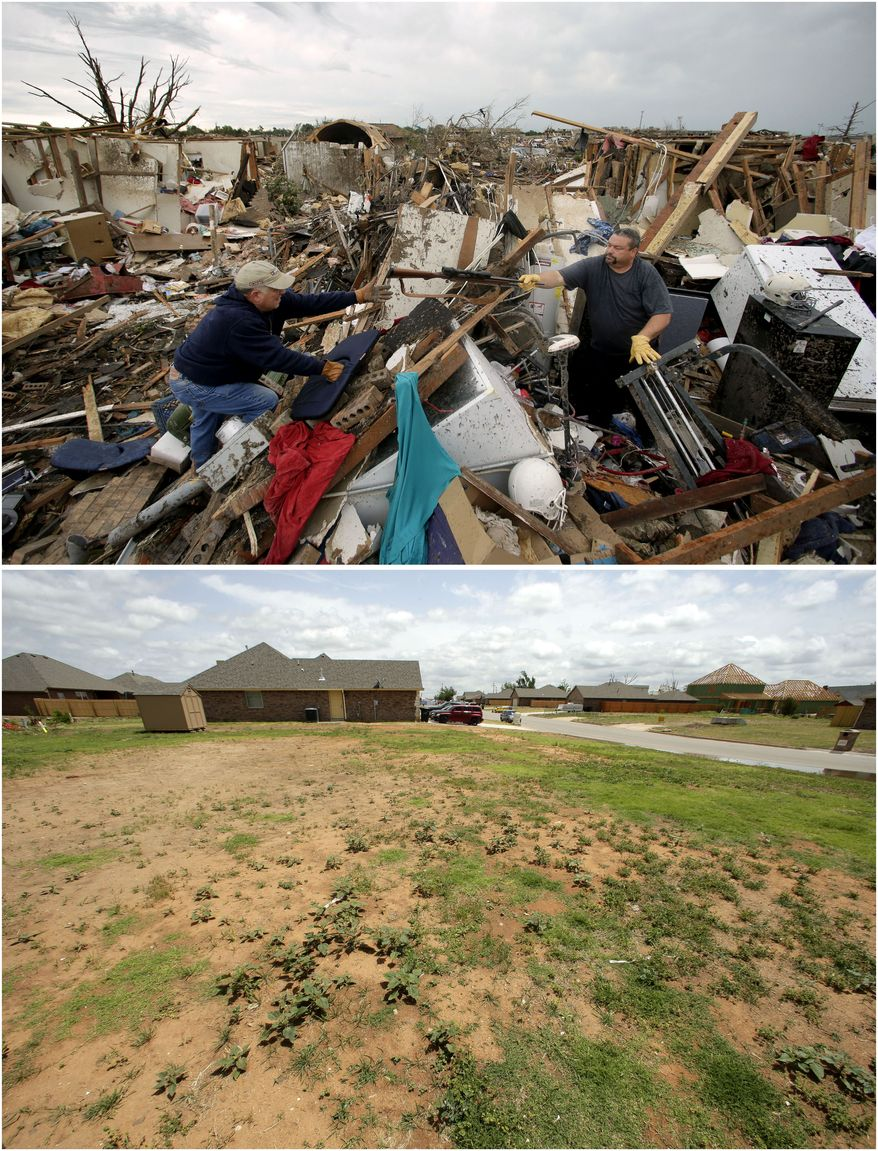 In this photo combination, Dalton Sprading, right, hands a gun to his uncle Roger Craft as he salvages items from his tornado-ravaged home in Moore, Okla., May 21, 2013, top, and the site remains empty while other houses rise in the background on May 8, 2014, bottom. (AP Photo/Charlie Riedel)