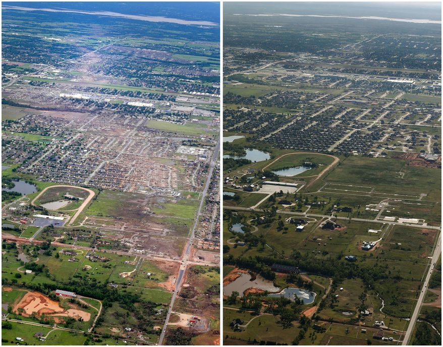 This combination of aerial photos shows the path of destruction on May 21, 2013, the day after a massive tornado hit Moore, Okla., left, and the same view on May 15, 2014, right. (AP Photo)