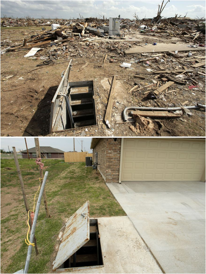 This photo combination shows an underground shelter among tornado rubble, May 26, 2013, in Moore, Okla. top, and the shelter virtually unchanged on May 7, 2014. (AP Photo/Charlie Riedel)