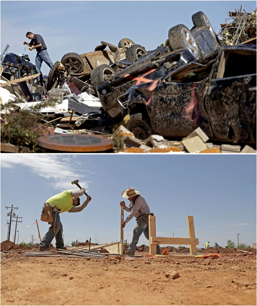 In this photo combination, Farmers Insurance worker Paul Gaipo looks through tornado-damaged cars to determine which company insured the vehicles at a destroyed strip mall on May 22, 2013, in Moore, Okla., top, and workers prepare footings for a new business building near the site on May 8, 2014, bottom. (AP Photo/Charlie Riedel)
