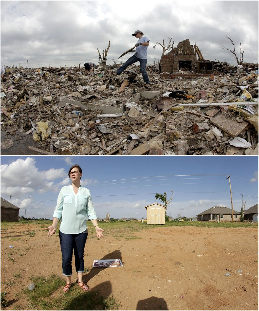 In this photo combination, Abby Cotten sorts through the tornado-ravaged home she shared with her parents in Moore, Okla., May 25, 2013, several days after it was destroyed by an EF-5 tornado, top, and Cotten visits the site on May, 8, 2014, bottom. She said that she plans to start construction this summer on a new home for herself on the lot after her parents decided to not move back to the location. (AP Photo/Charlie Riedel)