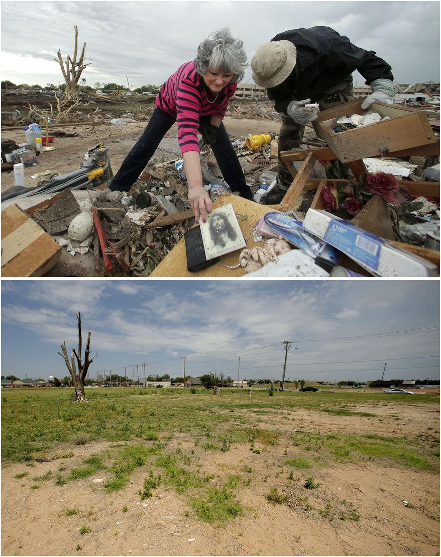 In this photo combination, Lea Bessinger, left, salvages a depiction of Jesus as she and her son, Josh Bessinger, sort through the rubble of her tornado-ravaged home in Moore, Okla., May 21, 2013, top. A vacant lot is all that remains on the site on May 7, 2014, bottom. (AP Photo/Charlie Riedel)